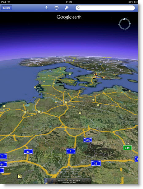 Det ser godt ud når man kan se horisonten i Google Earth-app'en til iPad