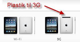 Forskellen på iPad'ens hus for 3G og Wi-fi-modellen