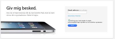 Send en email når iPad kan bestilles