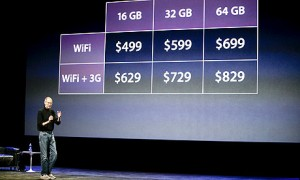 Priserne på iPad som Steve Jobs præsenterede dem. I Danmark bliver de nok lidt højere.
