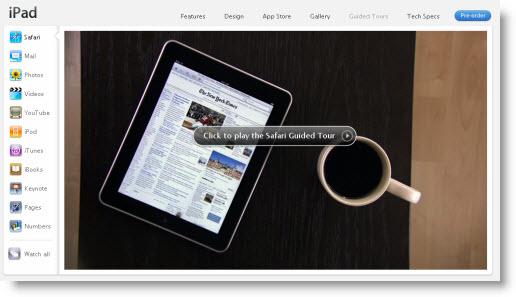De nyeste videoer der præsenterer de forskellige standard-apps på iPad