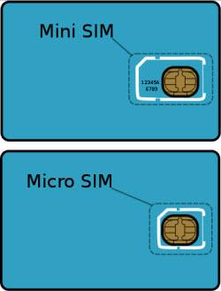 Sådan ser et micro-sim-kort ud i forhold til et normalt sim-kort