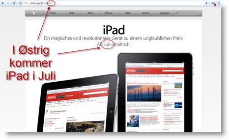 Anden runde af iPads internationale lancering hvor bl.a. Østrig er med
