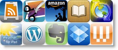 Ikoner for de iPad-apps som er på min top-10-favorit-liste